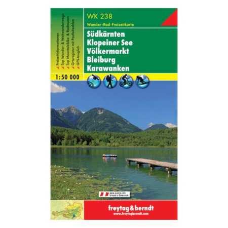 Südkärnten, Klopeiner See, Völkermarkt, Bleiburg, Steiner Alpen turistatérkép