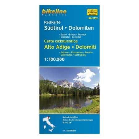Dél-Tirol, Dolomitok kerékpáros térkép, Radkarte Südtirol, Dolomiten