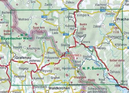Šumava, Trojmezí, Pláne turistatérkép