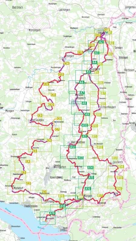 Donau-Bodensee-Radweg, Oberschwaben-Allgäu-Weg, Donau-Bodensee kerékpáratlasz