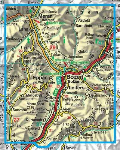 Bolzano, Merano, Sarntal turistatérkép