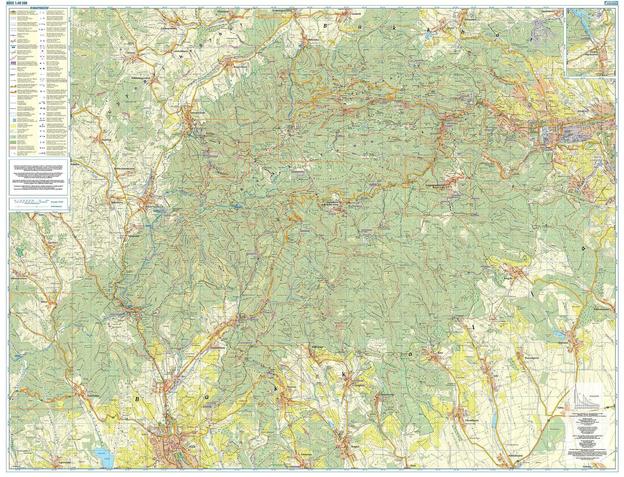 bükk térkép Bükk turista  és kerékpáros térkép / Szarvas   FRIGORIA Könyvkiadó
