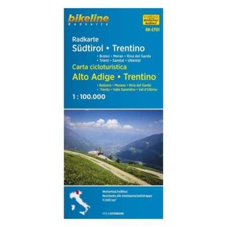 Dél-Tirol, Trentino kerékpáros térkép, Südtirol, Trentino