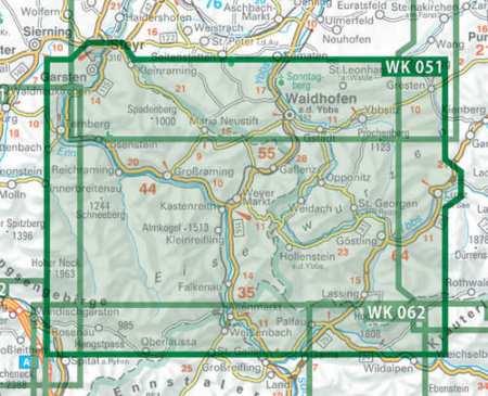 Eisenwurzen, Steyr, Waidhofen/Ybbs, Hochkar turistatérkép
