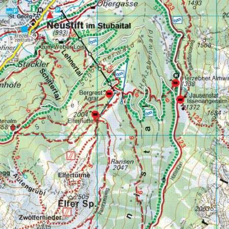 Innsbruck, Stubai, Sellrain, Brenner turistatérkép
