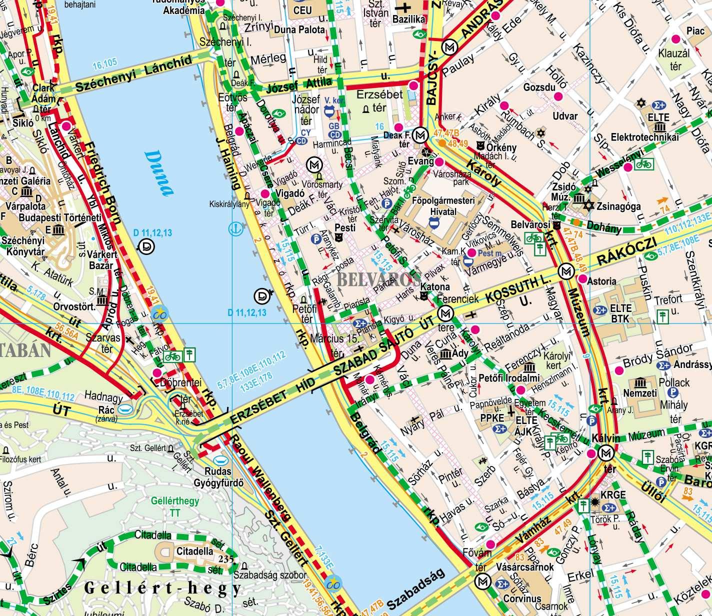 budapest térkép Budapest kerékpáros térkép / – MOBIL ESZKÖZRE LETÖLTHETŐ VERZIÓ