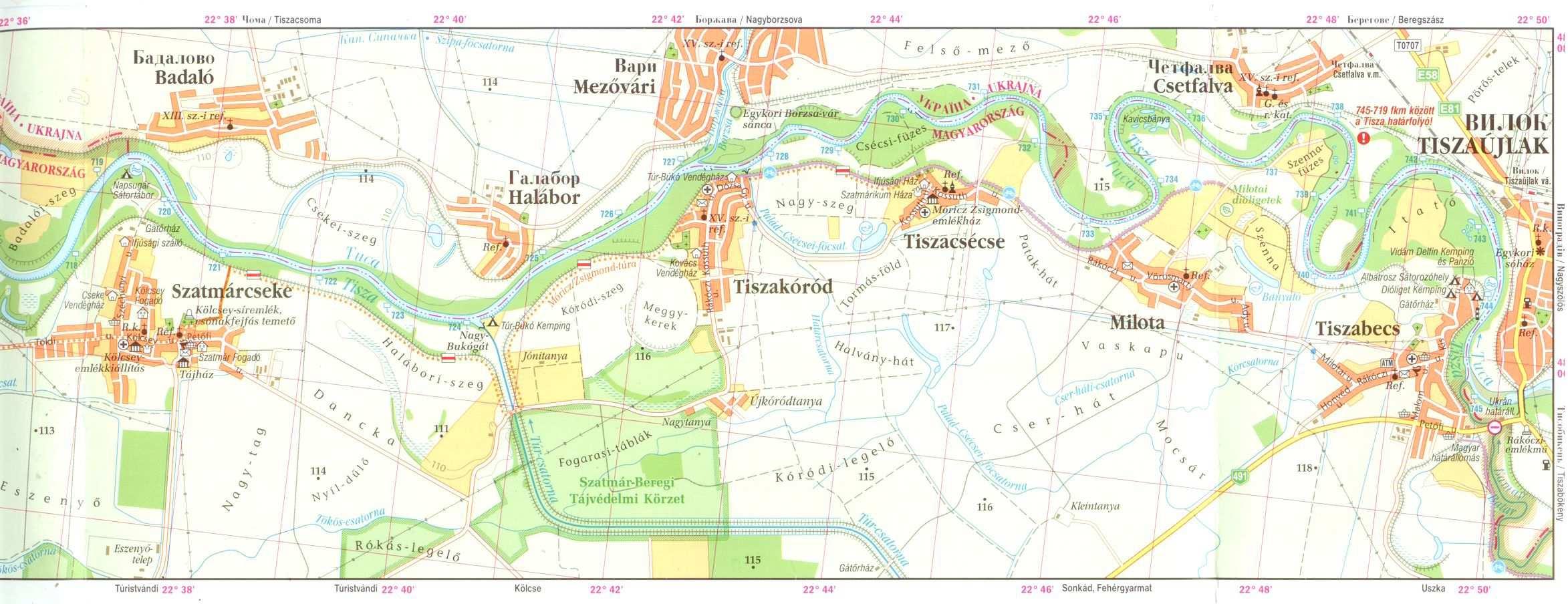 tiszabecs térkép Felső Tisza vízitúra  és kerékpáros térkép / Tiszabecs   Zsurk